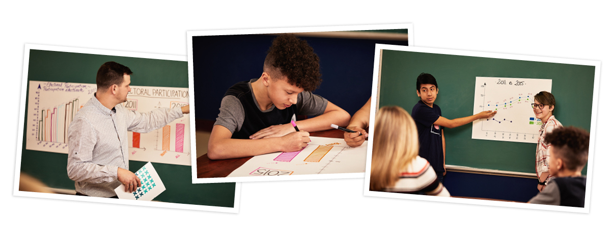 Collage of 3 images. Image 1: A teacher in front of a blackboard. Image 2: A student draws at a desk. Image 3: Students in front of a blackboard.