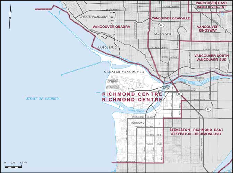 Graphic: Map of  Richmond Centre  electoral district