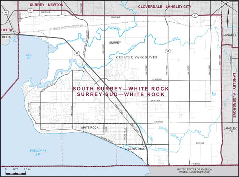 Graphic: Map of  South Surrey--White Rock  electoral district