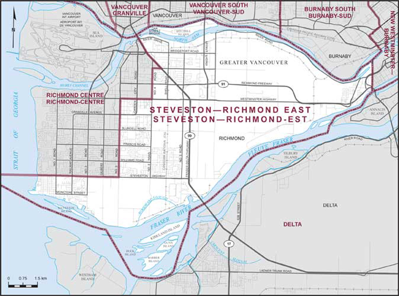 Graphic: Map of  Steveston--Richmond East  electoral district