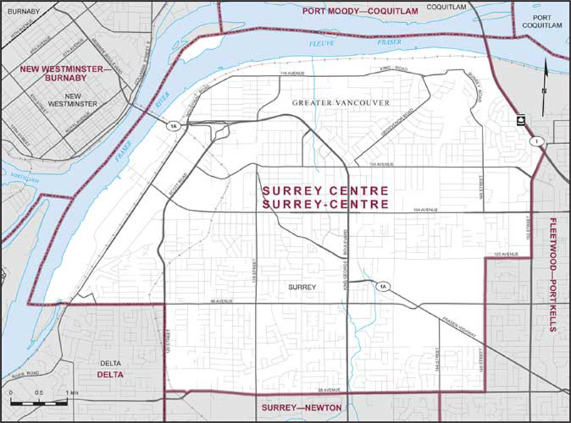 Graphic: Map of  Surrey Centre  electoral district