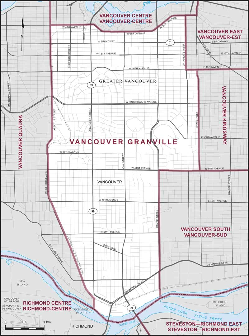 Graphic: Map of  Vancouver Granville  electoral district