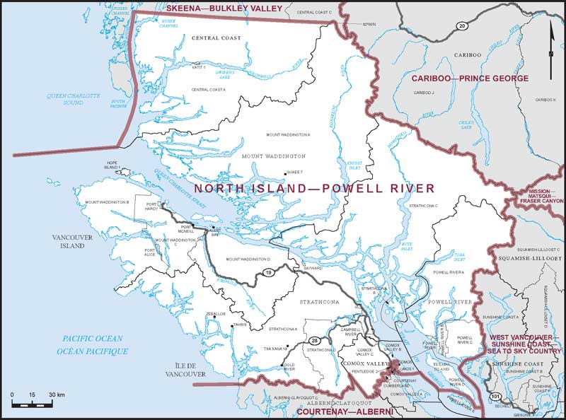Graphic: Map of  North Island--Powell River  electoral district