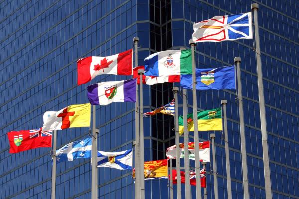 The Canadian flag surrounded by the flags of each province