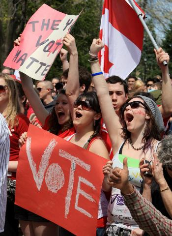 "A photograph showing a group of young people protesting, waving Canadian flags and signs that say ""vote."""