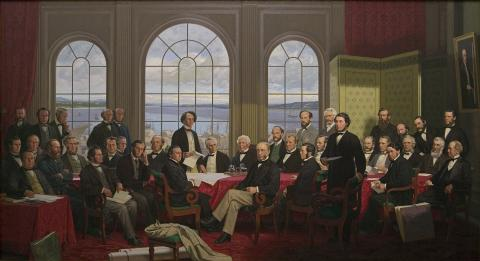 A painting depicting the Fathers of Canadian Confederation.