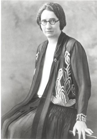 Black and white photograph of Agnes Macphail, seated.
