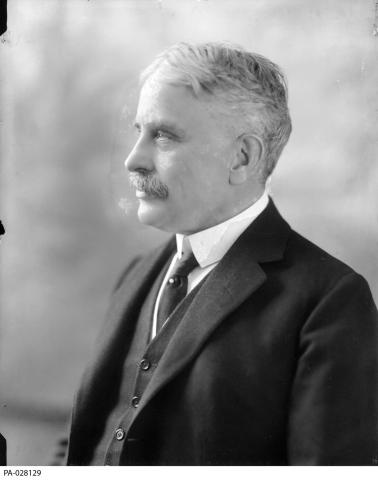 Black and white photograph of Prime Minister Robert Borden, in profile.