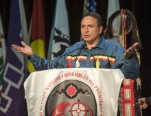 National Chief of the Assembly of First Nations Perry Bellegarde addresses the crowd at the Assembly of First Nations.