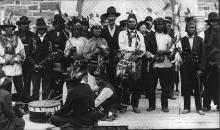 Black and white picture of an Aboriginal Pow Wow in Rat Portage, Ontario