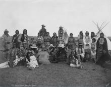 Black and white photo of a group of Indigenous people in Western Canada.
